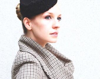 Black Lace Rose felt modern beret