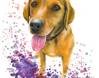 Custom Pet Portrait of your dog,  colourful illustration made with watercolours and pastels personalised painting labrador dog or cat