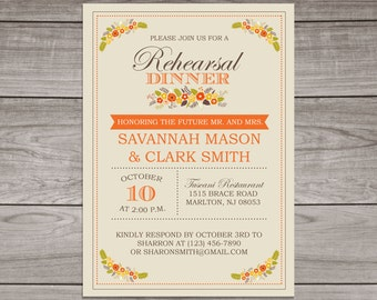 Fall Rehearsal Dinner Invitations - Fall Floral Rehearsal Dinner invitation - Wedding - Dinner Rehearsal - Rehearsal-105
