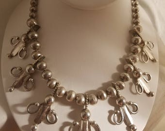 Vintage Silver Tone Beaded Necklace with floral motif 16""