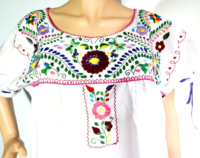 White Mexican dress women with floral embroidery