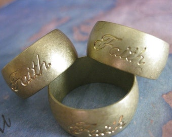 1 PC Faith - Vintage Raw Brass Solid Heavy Gauge Ring Band SZ 8 - HH03