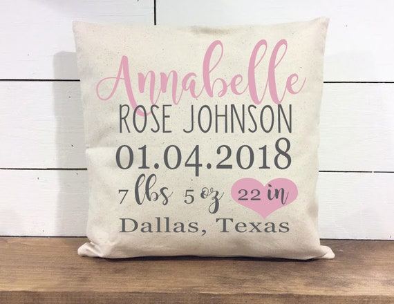 Pink baby stat personalized pillow cover custom name pillow pink baby stat personalized pillow cover custom name pillow cover girl nursery pillow baby shower gift nursery pillow baby pillow negle