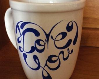 "Custom, "" I Love You,"" 15 oz Ceramic Coffee Mug, with optional hot chocolate and mini marshmallows on a stick."