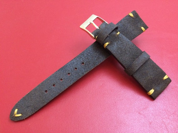 Leather watch band, Nubuck watch strap, Leather watch strap, Nubuck watch band, 19mm, 20mm strap, Brown, 16mm buckle, FREE SHIPPING