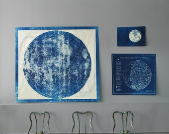 Very Large Lunar Map Moon Map Cyanotype very unique
