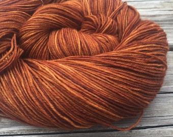 Hand Dyed Sock Yarn Copper Cove Hand Painted sockyarn 463 yards superwash merino nylon pumpkin orange rust fingering Treasured Toes