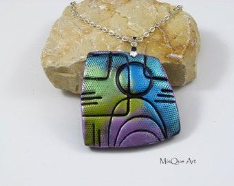 Colorful Vintage chain pendant square