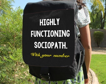 """SHERLOCK  """"Functioning Sociopath"""" With your Number Canvas Backpack Bag"""