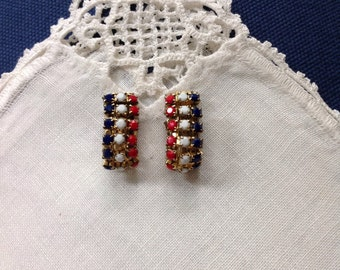Vintage Patriotic Earrings, Red, White and Blue