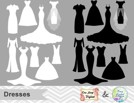 Digital Dress Clipart Wedding Dress Clip Art Bride Dress Silhouette ...