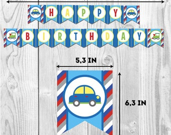 Happy birthday Transport banner, boys party, party paper decoration, Birthday Party Package, printables,mustache party, bowtie birthday