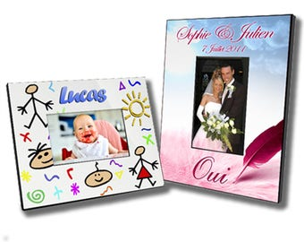 Picture frame personalized with text or image