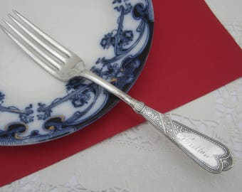 """Antique Victorian Aesthetic Movement NEWPORT / CHICAGO Silverplate Single Shabby Dinner Fork engraved """"Hutton"""" made by Rogers & Bros"""