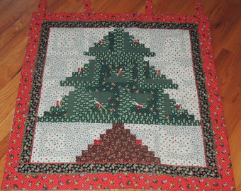 Patchwork Calico Christmas Tree Jingle Bell Wall Hanging 36 x 36