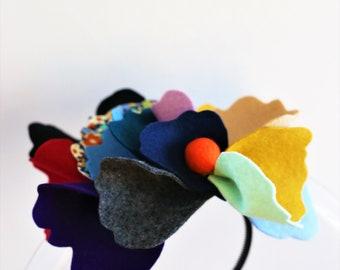 Big Flower Headband.  100% wool felt.