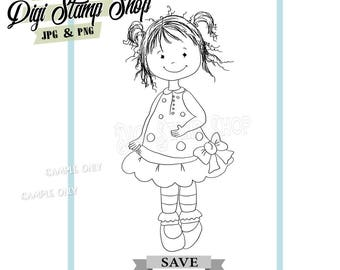 Ellie Girl Stamp, Digital Stamp, Scribble Stamp, Digi Stamp, Whimsy Stamp, Color In Page, Card Design, Lineart, Girl stamp, Cute Stamp