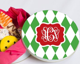 Christmas Tin - Baked Goods Tin - Biscuit Tin - Personalized Cookie Tin - Monogram Gift - Decorative Round Tin - Harlequin Tin Monogram