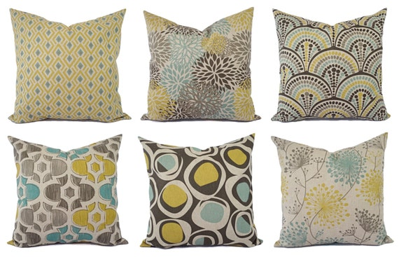 Decorative Pillow Yellow Blue And Beige Decorative Pillow