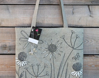 """Tote bag in natural linen illustrated """"dragonflies and herbs"""""""
