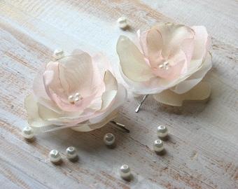 Champagne blush hair flower Ivory blush hair flower Champagne wedding flower Blush wedding flower Ivory champagne hair flower Blush bridal
