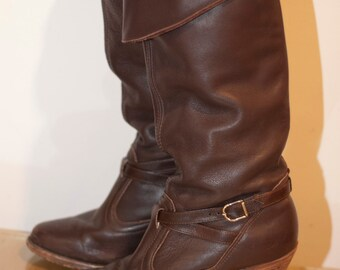 Vintage Dexter Chocolate Brown Pirate Boots - Stacked Leather Heels Made in USA