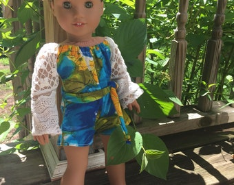 American Girl Cute Long Sleeve Shorts Romper Jumpsuit