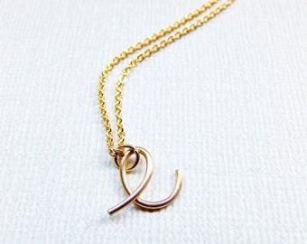 Letter E Necklace, Initial E Necklace, Gold E Necklace, Gold Initial Necklace, Cursive Letter Necklace, Letter Necklace, Initial Necklace