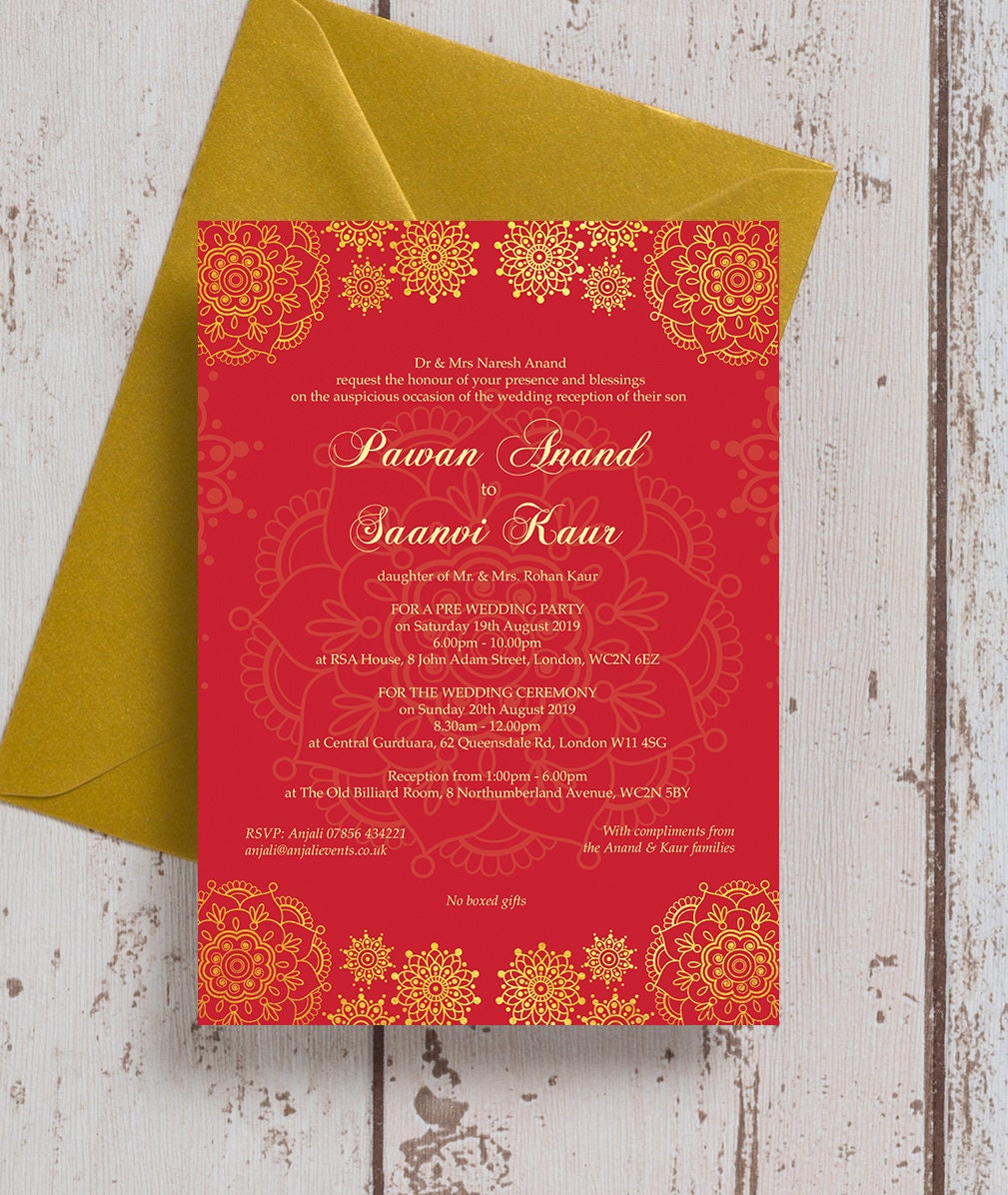 Personalised Red & Gold Asian Wedding Mehndi Invitation with