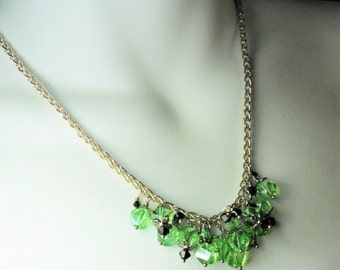 Beautiful Peridot Crystal Necklace - Accented With 3mm Jet Crystals - Silver Plate Chain - August Birthstone - by chicartistique