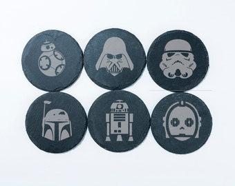 Set of 6 Star Wars Custom Slate Coasters Personalized Coaster BB8 R2D2 C3P0 Darth Vader Boba Fett Storm Trooper Engraved Coaster Gift