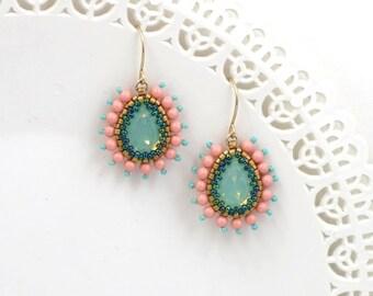 Turquoise swarovski crystal teardrop earrings, Peach dangle earring, Victorian style jewelry, Wife gift idea, Fashion earrings for women