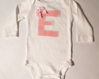 Hand appliqued and hand embroidered long sleeved  monogram onesie