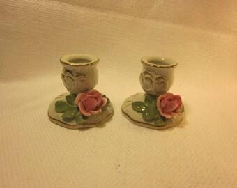 Pair Dresden fine bone china candleholders, capodimonte style roses