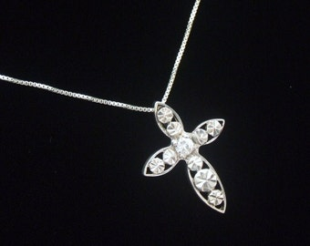 Sterling Silver Cross Pendant Necklace Easter Gift CZ Crystal Rhinestone Dainty Petite with or without chain