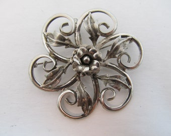 1950s Sterling Swirl Floral Brooch Item W-#314