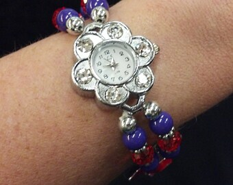 """NEW 7"""" Purple & Red Bead Watch with Red Hats / Gift Box for Society Lady"""