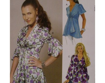 High Waist Blouse Pattern, V-neck, Front Pleat, Long/Short/Elbow Sleeves, Fitted Bodice, Shaped Hem, McCalls No.6202 UNCUT Size 6 8 10 12 14