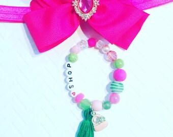 Girl's Personalized Bracelets,I Love To Shop Bracelet,Girl's Pink Purse  Bracelet, Kid's Tassel Bracelets, Girl's Charm Jewelry