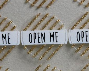 """Gold Glitter 3cm Round Label Sticker Sheet - """"Open Me"""""""