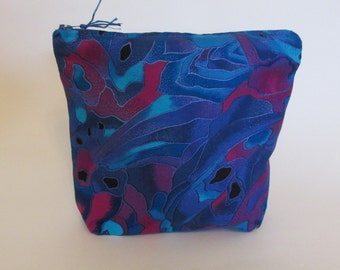 Handmade Zippered Pouch 100% cotton fabric, blues & purples, washable, use for travel, chargers, first aid, medications, jewelry, etc