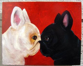 "French Bulldog Art Print of an original oil painting -""Attitudinal""- 11 x 14 - Dog Art"
