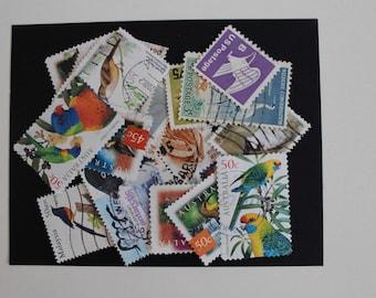 25 Birds Postage Stamps (Used) - Vintage Paper Ephemera