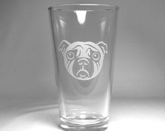 Pug Dog Pint Glass - sad puppy