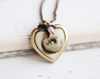 Bird nest necklace, Mothers day gift Vintage locket necklace, Heart locket photo necklace, Grandma locket, Bird nest locket, Photo locket
