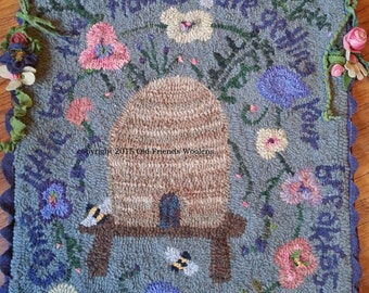 Come Little Bees Hooked Rug Pattern