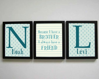 Brother Print, Two custom name prints, Because I have a Brother I always have a Friend, Blue and white brother prints