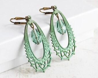Mint Green Earrings, Filigree Teardrop Earrings, Patina Jewelry (Clip-on available)