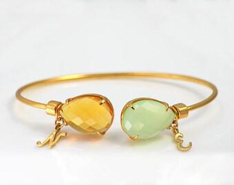 Personalized Birthstone bangle, adjustable gold bangle, Customizable bangle, initial bracelet, grandma gift, bridesmaid bracelet, mom gifts