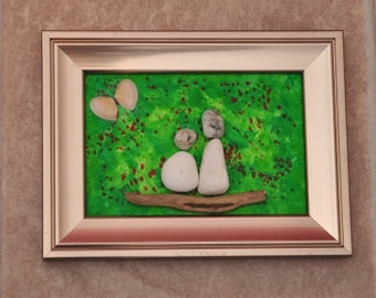 Driftwood/pebble/beach art/shells/driftwood/pebbles - Couple In Poppy Field